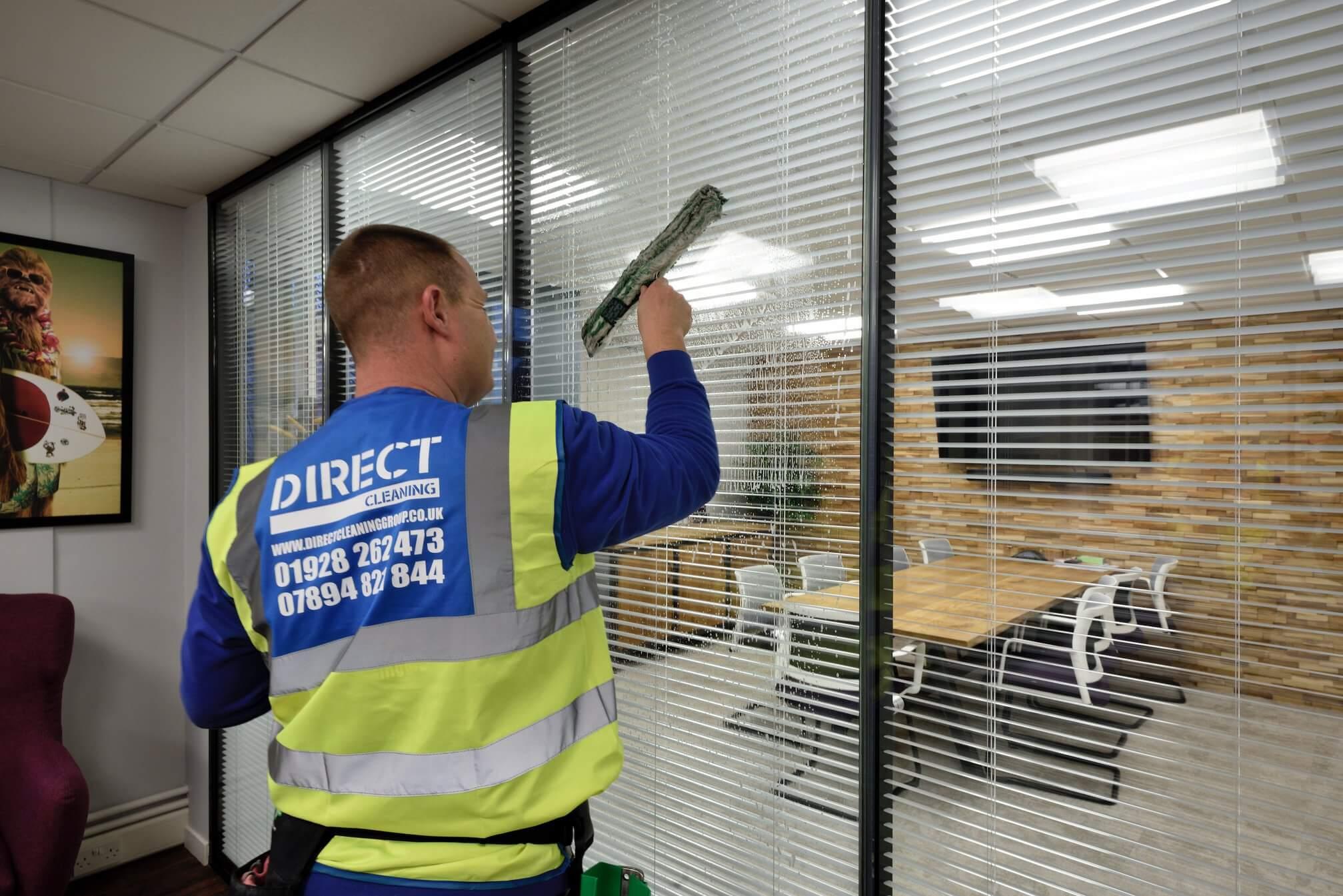 Indoor window cleaning of office