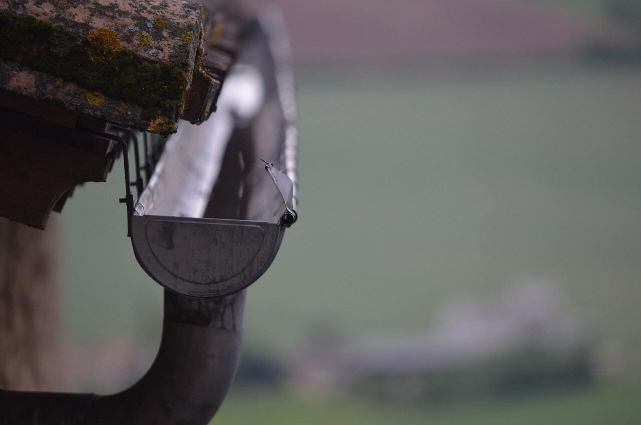 Close up of rain gutter