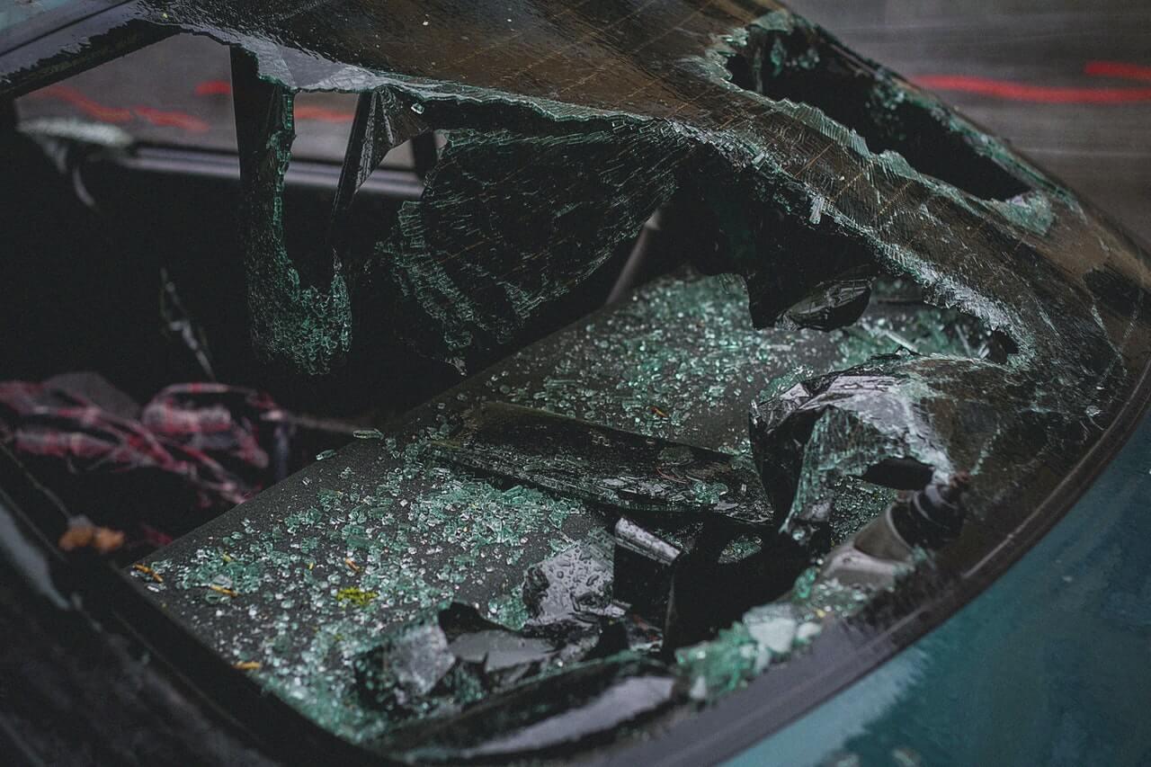 Car windscreen smashed